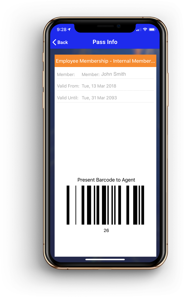Screenshot of a mobile ticket